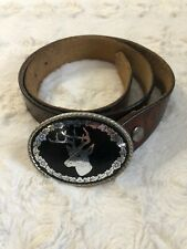 Vintage Tooled JACK DANIEL'S Brown Leather Belt Silver Deer Hunter Buckle 40""