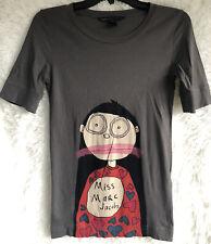 Marc Jacobs Miss Marc Jacobs T Shirt 3/4 Sleeves Gray Crew Neck Sz XS