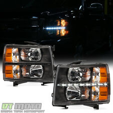 Black 2007-2013 Chevy Silverado 1500 2500HD 3500HD LED DRL Headlights Left+Right
