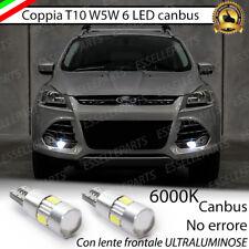 COPPIA LUCI POSIZIONE T10 6 LED CANBUS CON LENTE FORD KUGA II NO ERROR BIANCO