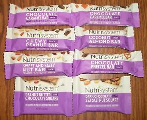 Lot of 8 Nutrisystem Snack Bars + Squares -- Fresh 2021-22 Dates -- Good Variety