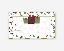 60 Count Matte Gift Labels for Christmas and Holidays, Red Green Gifts (#521-07)