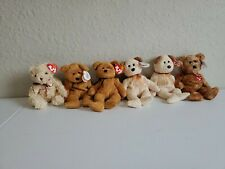 LOT OF 6 TY BEANIE BABY BEARS 2 FUZZ, 2 HUGGY, THANK YOU AND HERSCHEL D05