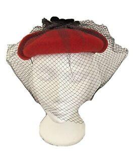Vintage 80's 'Connor' Red Velvet Pill Box Hat with Black Net & Flower Detail