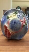 Vtg. Mid-Century Royal Copley Wall Pocket Planter Vase Blue Hat with Flowers