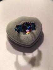 Size 8  Ring Claw Band Rainbow Topaz  Rhodium plated-R593