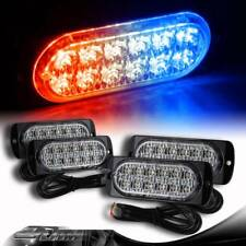 4X Red/Blue 12-LED Truck Emergency Flash Warn Beacon Strobe Lights Universal 1
