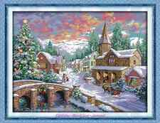 Kit broderie point de croix Paysage d'hiver ,Cross Stitch Kit Snowscape.