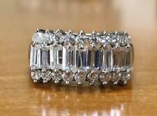 14K Solid White Gold Baguette CZ Womens Wide Cluster Ring 5.7 Gr Size 8.75