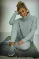 Womens Chunky Knitted High Roll Neck Top Bottom Lounge Wear Tracksuit Set full