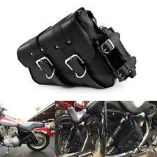 Motorcycle Left Saddle Bag Black Leather for Harley Sportster 2004 UP