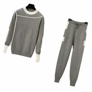 Women Two Piece Pants Fashion Plus Size Sweater And Knitted Sweater Suits Female