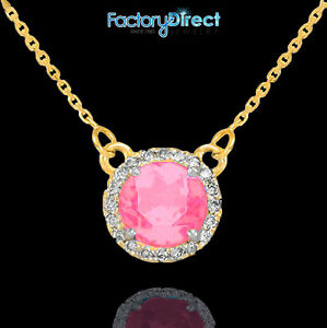 14k Gold Diamond Pink Tourmaline October Necklace