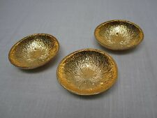 "3 MICHAEL ARAM GOLD PLATED ALUMINUM 4 1/4"" LEMONWOOD BOWLS"