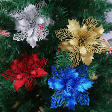 5Pcs Hollow Glitter Flowers Hanging Christmas Tree Party DIY Craft Ornament