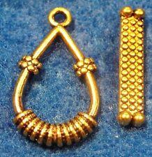 10Sets Tibetan Antique Gold Teardrop Toggle Clasps Connectors Hooks C108