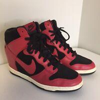 NIKE Black Red Leather Dunk Sky Hi Wedge Sneaker 528899-016 Women's Size 8
