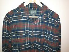 Woolrich Green Red White Plaid Button Up Hunting Plaid Flannel Mens Shirt L