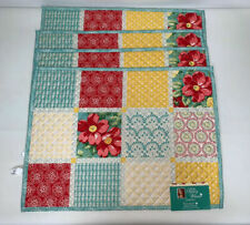 The Pioneer Woman Diamond Patchwork Reversible Table Placemats Set of 4 New