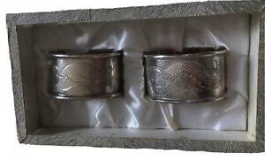 B8 - Vintage Pair Of 'Wai Kee' Hong Kong Sterling Silver 'Dragon' Napkin Rings