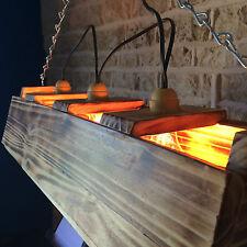 Handmade Triple Bar Pool Table Long Light Man Cave Unusual Unique Burnt Wood