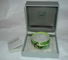 LALIQUE Paris Light Green Foil Leather Double Wrap Bracelet for Charm New in Box