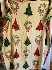 Vintage Christmas Tree & Xmas Wreath Couch Sofa Fringed Throw Blanket Sz. 55X65