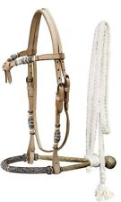 Showman LIGHT OIL Leather Futurity Knot Headstall w/ Rawhide Bosal & Mecate Rein
