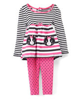 NWT Nannette Kitty Cat Pink Striped Tunic & Leggings Girls Outfit Set