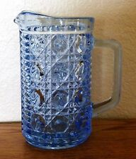 Federal Glass, Windsor Blue Button & Cane Pitcher Creamer Pint size 5 3/4""