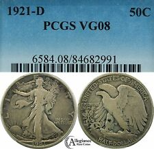 1921-D Walking Liberty Half Dollar PCGS VG08, UNDERGRADED KEY DATE rare old coin