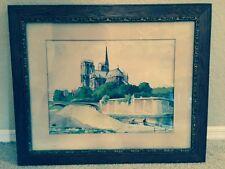Vintage 1942 Henri Schaeffer Watercolor Painting - Notre Dame de Paris Cathedral