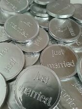 50 milk chocolate just married coins/retro sweets /wedding favours