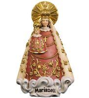 Estatua Madonna De Mariazell CM 17.5 IN Madera De en Val Gardena Adornada a Mano