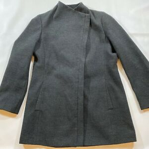 Calvin Klein Women's Size L? Fully Lined Assymetrical Zip Charcoal Coat
