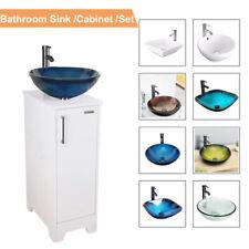 "14"" White Bathroom Vanity Cabinet Set Vessel Glass Ceramic Sink Faucet Combo New"