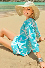 STARFISH BEACH COVERUP - AQUA -LARGE- XL- SALE NOW!