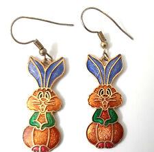 Vtg Cloisonne Rabbit Bunny Earrings Brown Body Blue Ears Green Arms Gold Tone