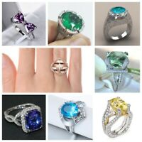 Charming 925 Silver Rose Gold Amethyst Emerald Wedding Ring Jewelry Gift Sz 6-10