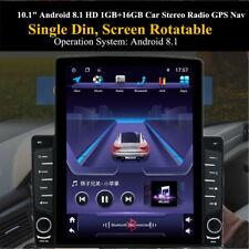 "1DIN Rotatable 10.1"" Android 8.1 HD 1GB+16GB Bluetooth Car Stereo Radio GPS Nav"