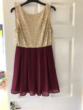 TFNC Large Sequin Dress Burgandy Gold