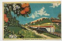Streamliner Railroad Train Engine Florida Vintage Color Linen Postcard 1945