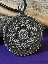 Lotus Flower OM (Aum) Mandala Hindu Pewter Pendant / Necklace, Double Sided,  d6