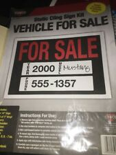 "Cosco 098025 Vehicle For Sale Static Cling Sign Kit - 10"" x 14"""
