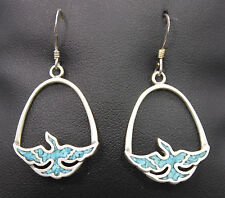 Sterling Silver Turquoise Chip Inlay Bird Dangle Earrings