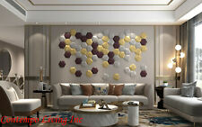HoneyComb Design Soft Leather Wall Decoration Panel Mixed Metallic color 12 Pack
