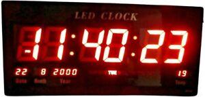Digital 14 Inches Large LED Wall Desk Alarm Clock Calendar Temperature