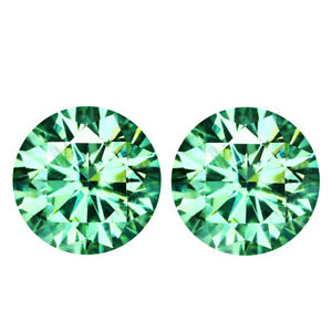 1.93 TCW PAIR 6.49MM IF VERY LIGHT GREEN MOISSANITE Sub to DIAMOND for EARRINGS