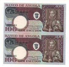 ANGOLA PORTUGAL 2 X 100 ESCUDOS 1973 PICK 106 CONSECUTIVE NUMBERS UNC