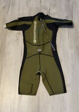 Quiksilver Syncro Springsuit Wetsuit Green Zipper Size XS